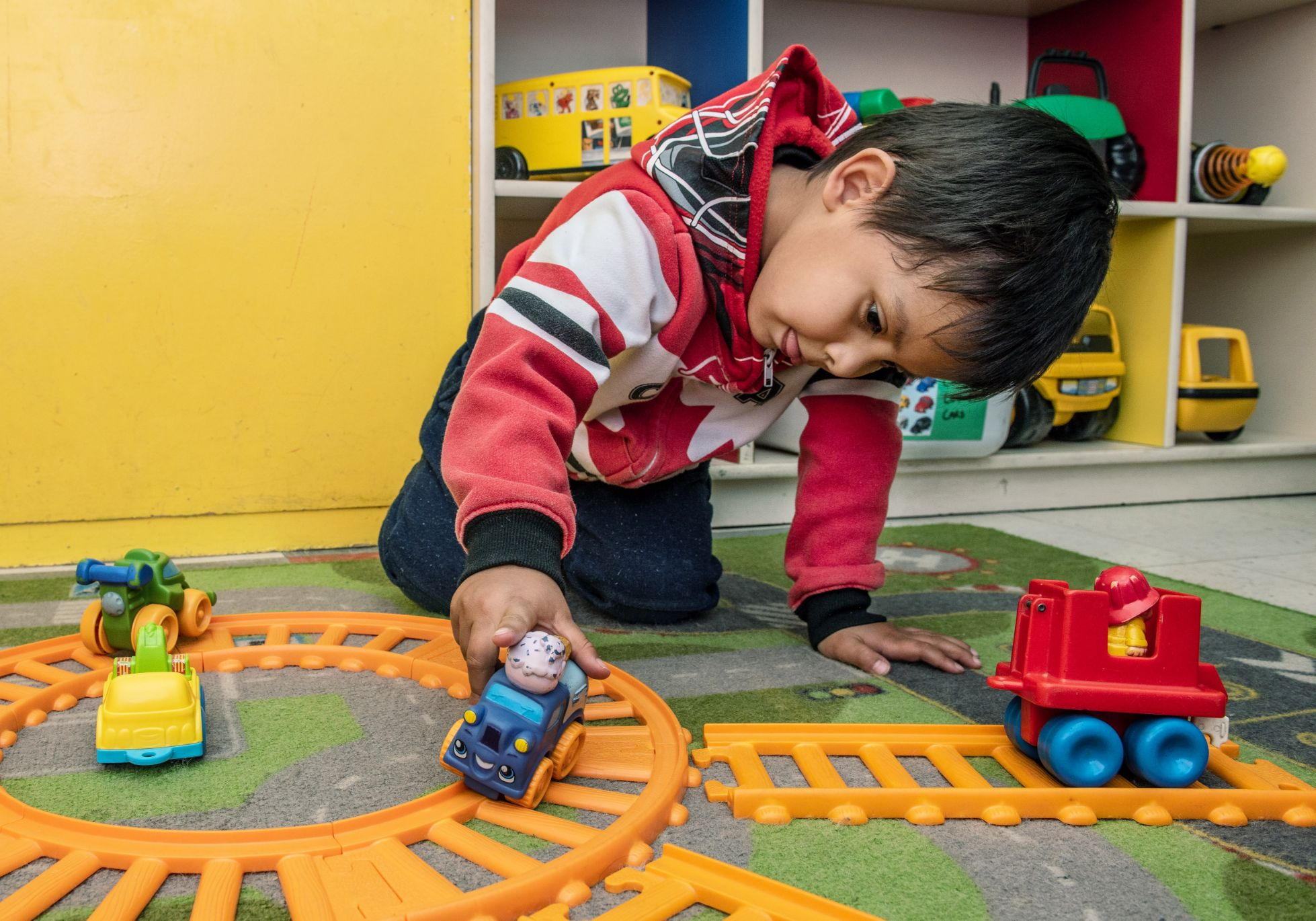 Kid playing train